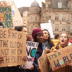 young people protesting for climate